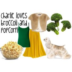 """Charlie loves broccoli and popcorn"" by monaruth on Polyvore"