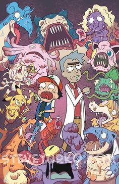 Rick und Morty / Pokémon - Rick and morty - Pokemon Cartoon Cartoon, Zombie Cartoon, Rick And Morty Pokemon, Rick And Morty Crossover, Comic Cat, Rick Und Morty, Rick And Morty Poster, Rick Y, Fan Art