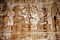 God Khnum moulds Ihy, goddess of Heket, mammisi (birth temple), Dendera Temple complex, Dendara, Egypt.