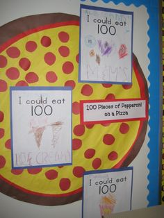 fun for 100th day    -- for younger kids, you could show them 2 pieces of pepperoni, 5 pieces of pepperoni and 100 pieces....  which is more?