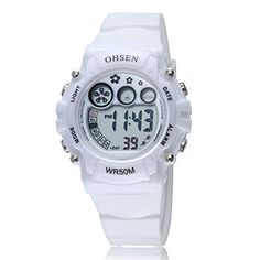 OHSEN Women's Sport LED Digital Waterproof Wrist Watch Calendar/Alarm/Chronograph-White