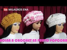 Boina a crochet paso a paso en puntos POPCORN y ELÁSTICO para diferentes edades - YouTube Crochet Doll Pattern, Crochet Art, Crochet Dolls, Crochet Patterns, Crochet Barbie Clothes, Doll Clothes, Crochet Tablecloth, Barbie Accessories, Crochet Beanie
