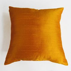 golden yellow silk pillow cover 18 inch IN by Comfyheavenpillows, $32.40