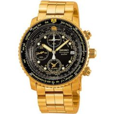 Relógio Men's Gold Tone 200m Flight Chronograph Black Dial #Relogio #Seiko