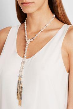 Carolina Bucci|Nana 18-karat gold, pearl and silk necklace|NET-A-PORTER.COM