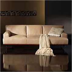 Puccini Leather Sofa - taupe or white, comfortable modern design - Scan Design Furniture | Modern & Contemporary | Florida