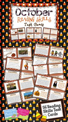 October Reading Skills Task Cards! A set of 56 Reading Skills and Enrichment Task Cards that are aligned to common core standards for grades 3-5$