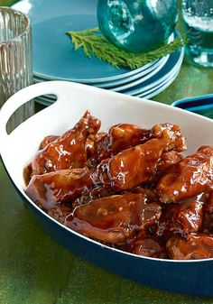 Saucy Slow-Cooker Party Wings — This slow-cooker BBQ wing recipe is a crowd-pleasing appetizer that makes entertaining ridiculously simple. Found on Kraft.com
