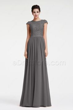 The charcoal grey bridesmaid dress is made of chiffon and lace fabric, lace top with cap sleeves, A Line skirt finishing with floor length.