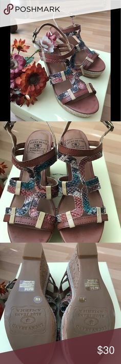 I just added this listing on Poshmark: Lucky brand cork wedge sandals. Wedge Sandals, Wedge Shoes, Bermuda Sands, Vince Sneakers, Cork, Lucky Brand, Wedges, Leather, Shopping