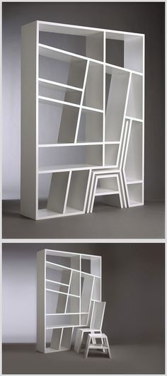 """""""Shelving unit or room divider in lacquered LDF (low density MDF) with removable chair and side table. Shelflife's striking angular appearance belies a practical functionality. Angular shelves prevent books from toppling, while the chair and table provide a convenient place to browse the collection."""" (Designer: Charles Trevelyan)"""