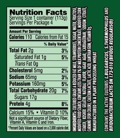 Dannon ® Activia ® Strawberry 4Oz. | Dannon Foodservice intended for Activia Yogurt Nutrition Label18939