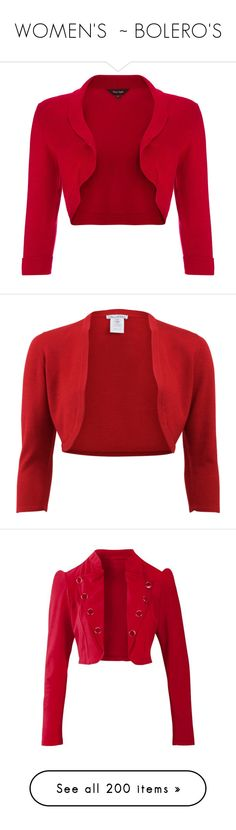 """WOMEN'S ~ BOLERO'S"" by kuropirate on Polyvore featuring outerwear, jackets, clearance, wine, evening bolero jacket, 3/4 sleeve jacket, red bolero, shawl collar jacket, red jacket and cropped bolero jacket"