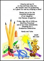little tot prek graduating announcement and invitation this