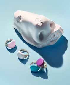 "Scratch and Sniff ""David Yurman's Bubblegum Pinky rings are perfect for those with a sweet tooth. The central resin pieces are infused with grape- and cotton candy–scented oils."" $900 each, davidyurman.com."