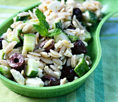 Recipe for whole wheat orzo with cucumber, mint, feta, olives, and zahtar vinaigrette {The Perfect Pantry}