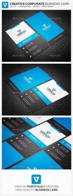Creative Corporate Business Card 61 - #Creative #Business #Cards Download here: https://graphicriver.net/item/creative-corporate-business-card-61/8950838?ref=alena994