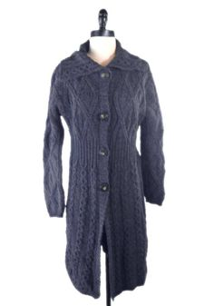 Aran Crafts Fisherman Sweater 100% Wool M Coat Long Duster Long Cable Knit #AranCrafts #Cardigan