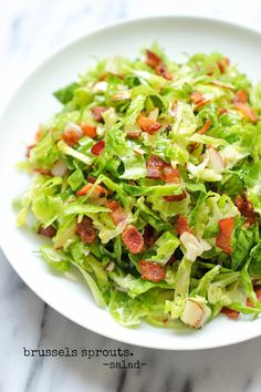 Brussels Sprouts Bacon Salad - You may think you hate brussels sprouts until you have this amazing, super crisp bacon-loaded salad!