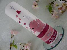 Taufkerzen - Taufkerze - Taufkerze Elefant -  Kommunionkerze - Taufkerze Mädchen - Taufkerze Junge -  rosa silber - NEU von LenzKerzen auf Etsy