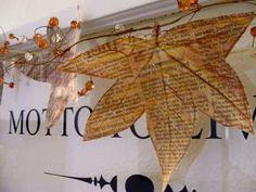 Newspaper Leaves - 20 Cute DIY Newspaper Decoration Ideas
