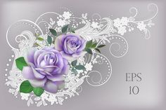 Wedding vector element with lilac roses by Maria Rytova #wedding #rose #flower #floral #design #greeting #card #lace #belgian