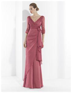 Vestidos de  fiesta largo de Gasa rosa teja con escotes en