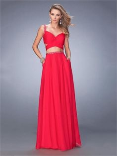 A-line Sweetheart Beaded Straps and Waistband Chiffon Prom Dress PD12240