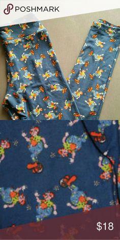 Lularoe clown leggings os OS lularoe clown leggings nwot blue background LuLaRoe Pants Leggings