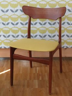 Chair designed by Schionning & Elgaard new upholstered with a lovely canvas fabrics color mustard (Miriam Laaser)