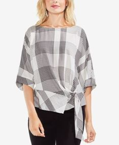 Desire to purchase Vince Camuto Oversize Plaid Dolman Sleeve Side Tie Top (Regular & Petite) Tie Waist Top, Evening Tops, Stylish Tops, Women's Summer Fashion, Women's Fashion, Short Tops, Blouse Dress, Vince Camuto, Blouse Designs