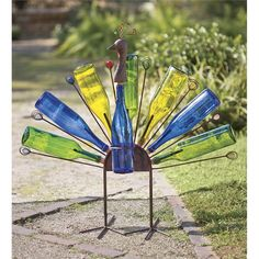 Peacock Bottle Sculpture | Metal Yard Art | Wind & Weather