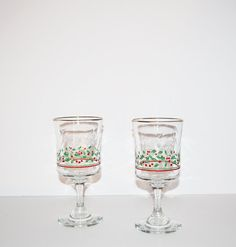 Vintage Christmas Wine Glasses with Holly Berries by JudysJunktion, $15.00