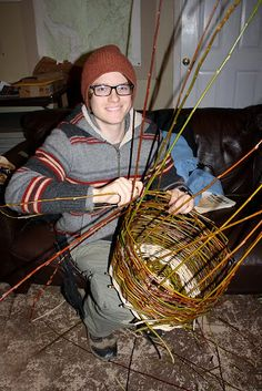 Making baskets from willow branches. I'd like to do this instead of disposing of all the willow branches each year.