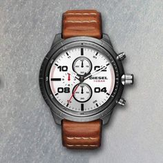 NWT Diesel Padlock Silver Dial Chronograph Watch Brown Leather Strap DZ4438 50mm