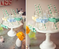 drinks served in mason jars with ribbon bow-ties and striped paper straws