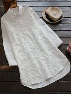 Shop Floral Embroidered Dip Hem Shirt Dress at ROMWE, discover more fashion styles online. Shirt Embroidery, Embroidered Blouse, Floral Embroidery, Vintage Embroidery, Cute Blouses, Blouses For Women, Ladies Blouses, Fashion 2017, Fashion Outfits