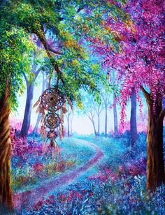 Shop for Dream Catcher Colorful Wonderland Diamond Painting Kit at Pretty Neat Creative with ✅ Softest canvas, Sparkliest beads ✅ Most Durable Package ✅ WARRANTY. Landscape Wallpaper, Abstract Landscape, Fine Art Amerika, Dream Catcher Art, Inspiration Art, Traditional Paintings, Colorful Paintings, Oeuvre D'art, Trippy