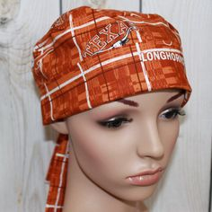 Texas Longhorns Surgical Scrub Hat OR Nurses by HatEnvyScrubHats
