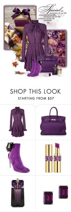 """That Purple Bag!"" by loveroses123 ❤ liked on Polyvore featuring Elie Saab, Hermès, Baldinini, Yves Saint Laurent, Thierry Mugler and Effy Jewelry"