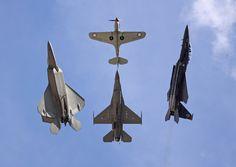 U.S.A.F. Heritage Flight - F-22, F-16, F-15, P-40
