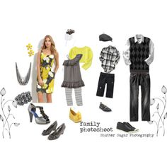 Spring family what to wear, yellow & grey