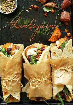 Vegan Thanksgiving Wraps: roasted sweet potatoes, crispy chickpeas, and garlic-dill sauce, tucked inside homemade Garlic Herb Flatbreads | Minimalist Baker Recipes