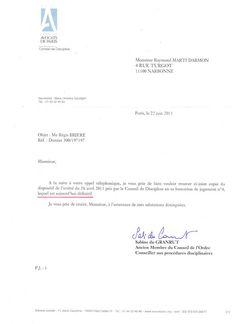 Affaire Marti Raymond: ARRET RENDU PAR LE CONSEIL DE DICIPLINE DU BARREAU...