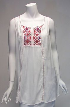 Max Edition BOHO Sleeveless Embroidery Outline & Detail Tunic Top Sz S, L, XL   #MaxEdition #Tunic #Casual