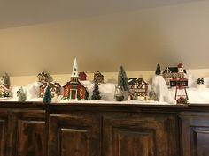 Cabinet top decor Christmas village Christmas Village Houses, Christmas Village Display, Christmas Villages, Christmas 2019, Christmas Home, Christmas Crafts, Christmas Ornaments, Christmas Ideas, Christmas Kitchen