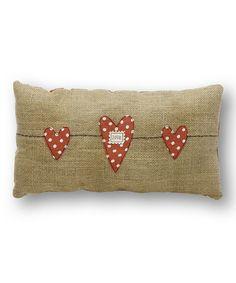 'Love' Heart Strand Burlap Pillow
