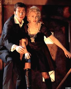 "David Tennant and Kylie Minogue in the special Christmas episode entitled ""Voyage of the Damned""."