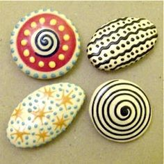 Creative craft ideas. Painted pebbles - handmade magnets