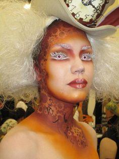 Mad Hatter steampunk makeup crazy eyes mechanical gear hat